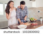 romantic young couple cooking... | Shutterstock . vector #1032830002