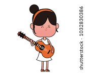 girl playing guitar | Shutterstock .eps vector #1032830386