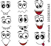 cartoon mouth eyes face icons... | Shutterstock .eps vector #1032831565