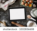 digital tablet and baking... | Shutterstock . vector #1032836608