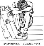 vector art drawing of lonely...   Shutterstock .eps vector #1032837445
