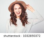 portrait of young stylish...   Shutterstock . vector #1032850372