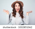 portrait of young stylish girl... | Shutterstock . vector #1032851062