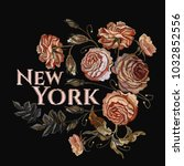 roses vintage embroidery. new... | Shutterstock .eps vector #1032852556