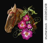 embroidery horse head and wild... | Shutterstock .eps vector #1032852658
