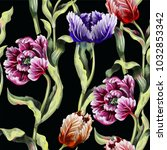 seamless pattern with tulips... | Shutterstock .eps vector #1032853342