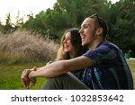 two friends having fun  telling ... | Shutterstock . vector #1032853642