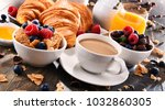 breakfast served with coffee ... | Shutterstock . vector #1032860305