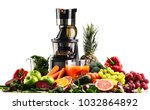 slow juicer with organic fruits ... | Shutterstock . vector #1032864892