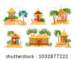 beach houses collection.... | Shutterstock .eps vector #1032877222