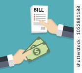 paying bills concept. one hand...   Shutterstock .eps vector #1032881188