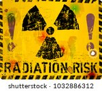 radiation warning sign  vector... | Shutterstock .eps vector #1032886312