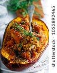 crunchy acorn squash stuffing... | Shutterstock . vector #1032892465