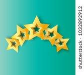 five realistic origami 3d gold... | Shutterstock . vector #1032892912