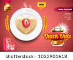 oatmeal ads. oats on plate with ... | Shutterstock .eps vector #1032901618