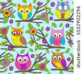 seamless pattern with funny... | Shutterstock .eps vector #1032902296