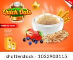 oatmeal ads. plate with oats... | Shutterstock .eps vector #1032903115