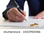 hands of wife  husband signing... | Shutterstock . vector #1032906586