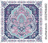 indian rug paisley lotus... | Shutterstock .eps vector #1032906682