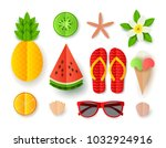 set of summer elements.... | Shutterstock .eps vector #1032924916