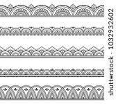 set of seamless borders for... | Shutterstock .eps vector #1032932602