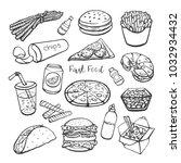 fast food  set of vector hand... | Shutterstock .eps vector #1032934432