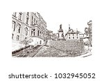old quebec  canadian province...   Shutterstock .eps vector #1032945052