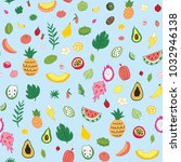 tropical fruits colorful vector ... | Shutterstock .eps vector #1032946138
