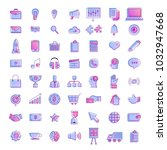 vector set icons thin line...