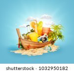 beautiful thai boat with... | Shutterstock . vector #1032950182