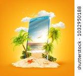 wonderful tropical landscape... | Shutterstock . vector #1032950188