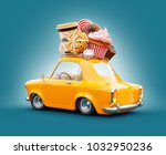 cute fantastic retro car with... | Shutterstock . vector #1032950236