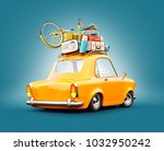 funny retro car with laggage ... | Shutterstock . vector #1032950242