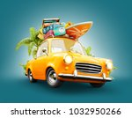 funny retro car with surfboard  ... | Shutterstock . vector #1032950266