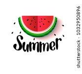 watermelon cut flat folding... | Shutterstock .eps vector #1032950896