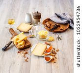 tasted swiss cheese and food... | Shutterstock . vector #1032954736