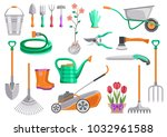 gardening tools set. bucket ... | Shutterstock .eps vector #1032961588