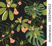 seamless tropical pattern with  ... | Shutterstock .eps vector #1032964312