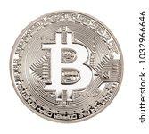 studio shot of a bitcoin... | Shutterstock . vector #1032966646