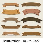 cartoon wooden ribbons and... | Shutterstock .eps vector #1032970522