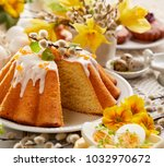 easter yeast cake with icing... | Shutterstock . vector #1032970672