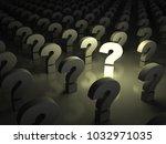 one light question mark... | Shutterstock . vector #1032971035