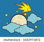 moon stars and comet in... | Shutterstock .eps vector #1032971872