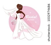 bridal shower invitation. young ... | Shutterstock .eps vector #1032974686