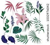 set of summer wild  garden... | Shutterstock .eps vector #1032976042