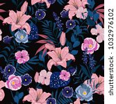 trendy  floral pattern in the... | Shutterstock .eps vector #1032976102