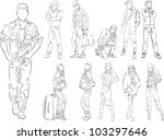 fashion people outline   vector ... | Shutterstock .eps vector #103297646