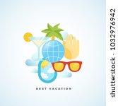 best vacation flat style... | Shutterstock . vector #1032976942
