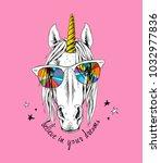 portrait of a magical unicorn... | Shutterstock .eps vector #1032977836