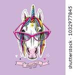 portrait of a magical unicorn... | Shutterstock .eps vector #1032977845